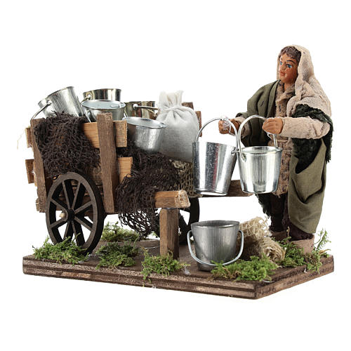 Man with cart of aluminium buckets, Neapolitan nativity figurine 10cm 2