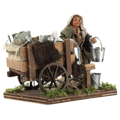 Man with cart of aluminium buckets, Neapolitan nativity figurine 10cm 3