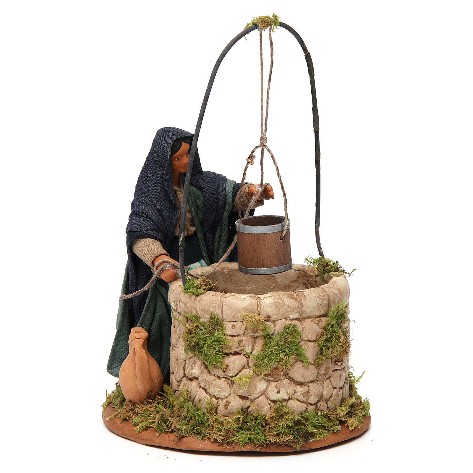 Woman at the well, Neapolitan nativity figurine 12cm 4