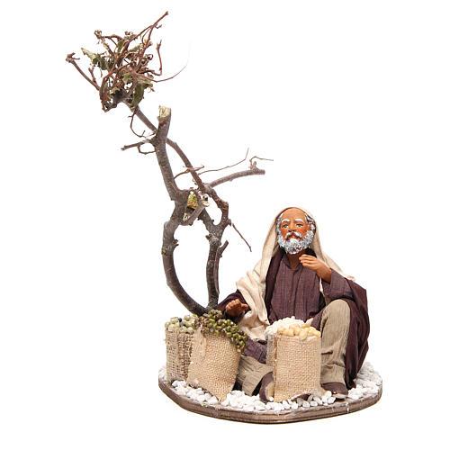 Marchand avec sacs de graines et arbre 24 cm crèche Naples 1
