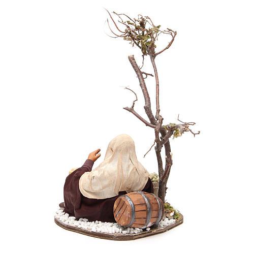 Marchand avec sacs de graines et arbre 24 cm crèche Naples 3