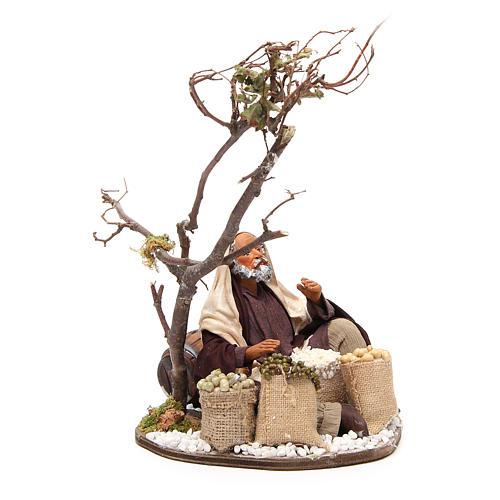 Marchand avec sacs de graines et arbre 24 cm crèche Naples 4