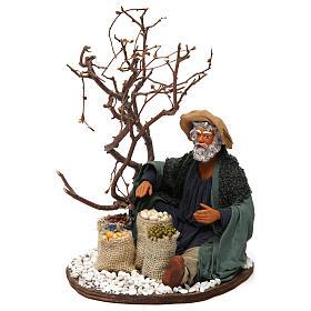 Mercante con sacco di semi e albero 24 cm presepe Napoli s2