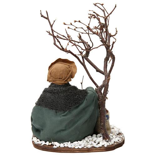 Mercante con sacco di semi e albero 24 cm presepe Napoli 4