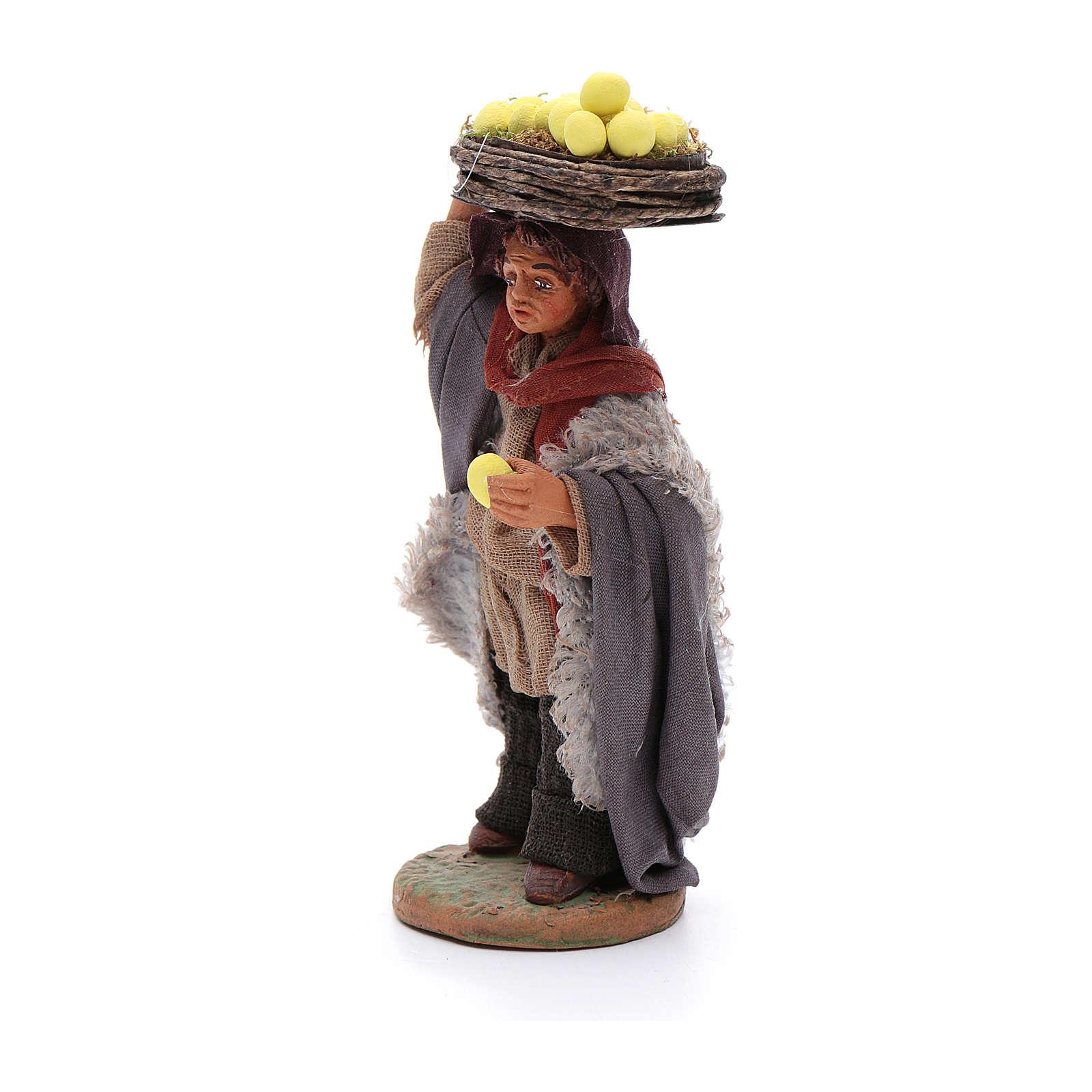 Man with lemon baskets, Neapolitan nativity figurine 10cm 4
