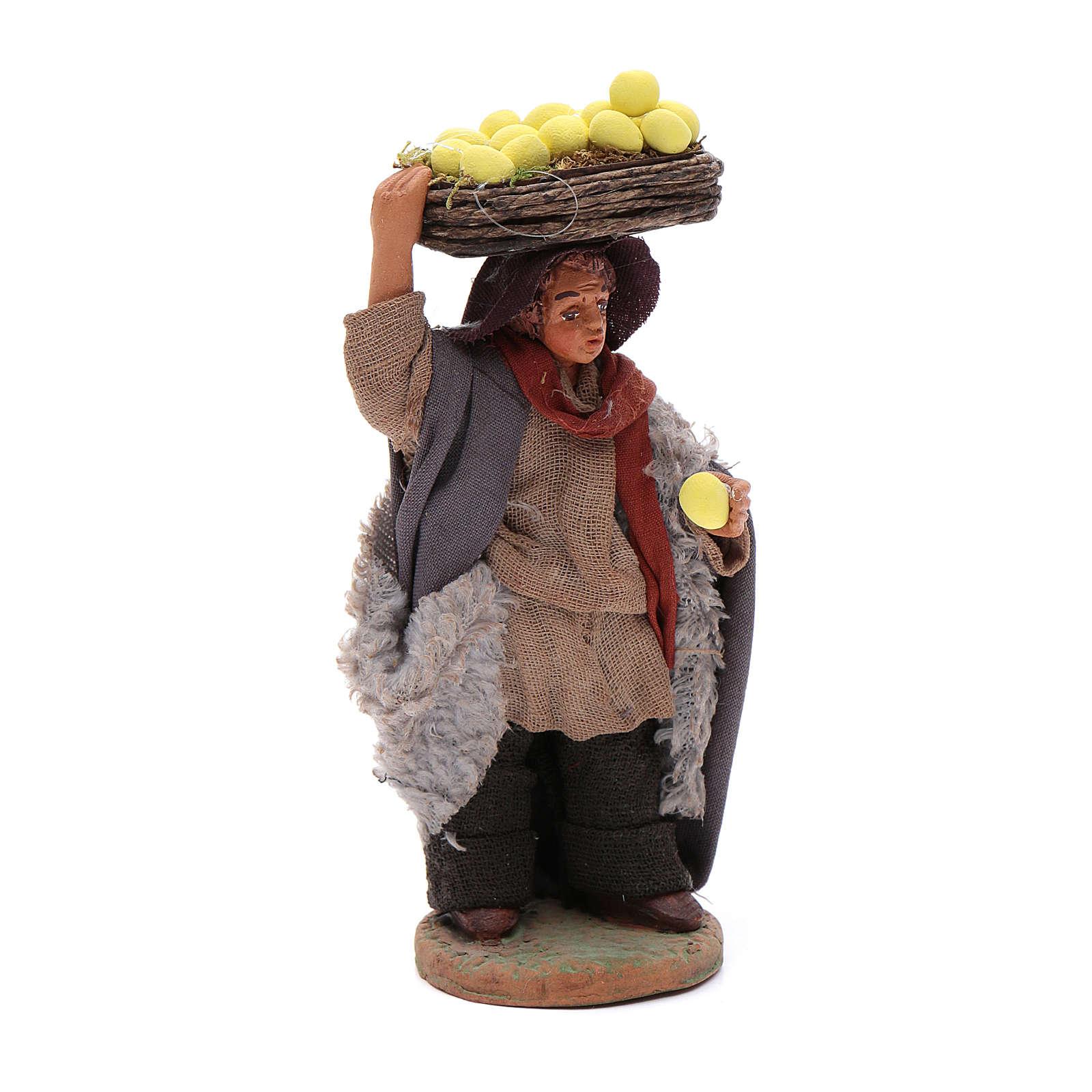 Uomo con cesti di limoni 10 cm presepe napoletano 4