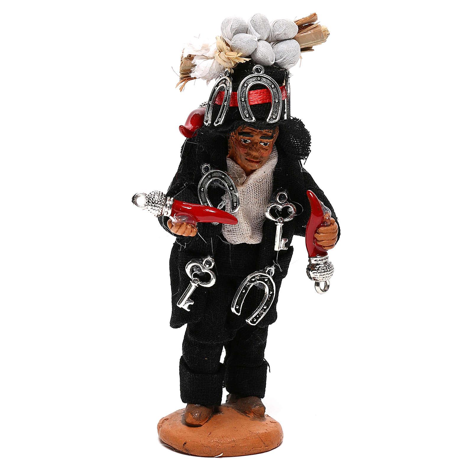 Hunchbacked man with good luck charms, Neapolitan nativity figurine 10cm 4