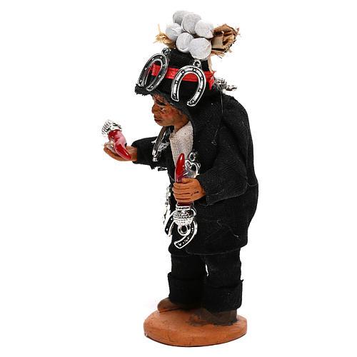 Hunchbacked man with good luck charms, Neapolitan nativity figurine 10cm 2