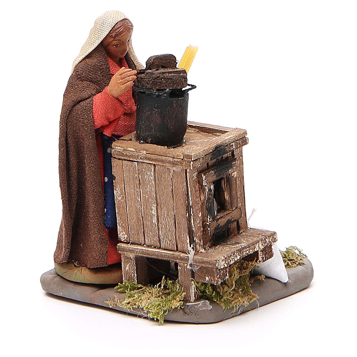 Woman with furnace, Neapolitan nativity figurine 10cm 4