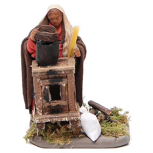 Woman with furnace, Neapolitan nativity figurine 10cm 1