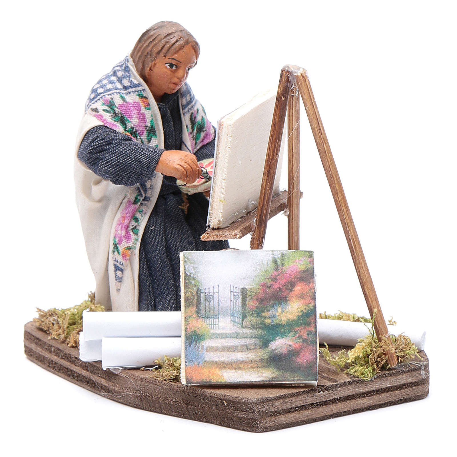 Woman painting, Neapolitan nativity figurine 10cm 4