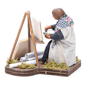 Woman painting, Neapolitan nativity figurine 10cm s2