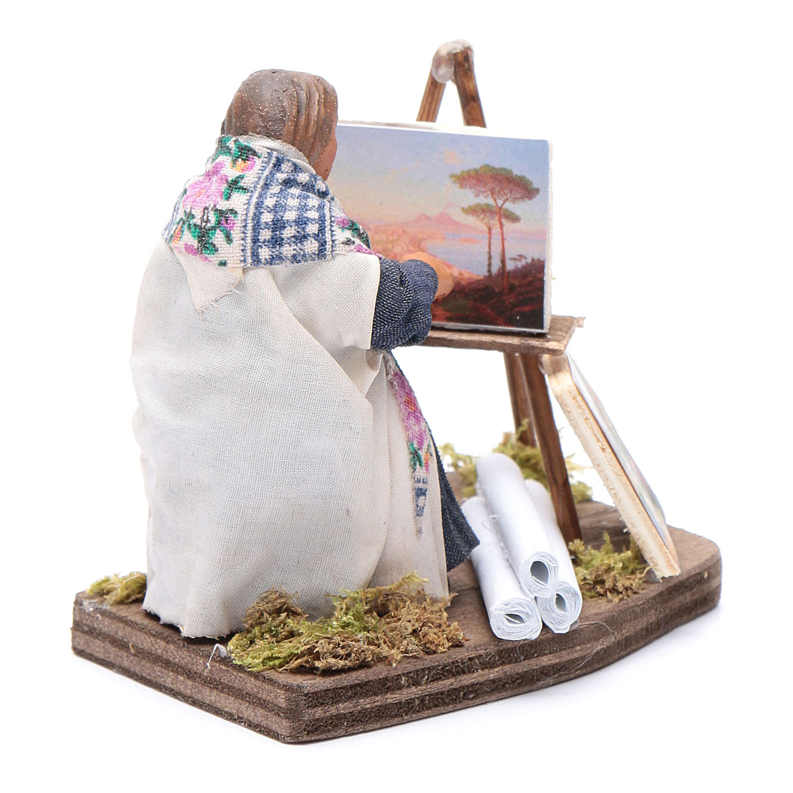Woman painting, Neapolitan nativity figurine 10cm 4