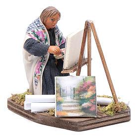 Woman painting, Neapolitan nativity figurine 10cm s1