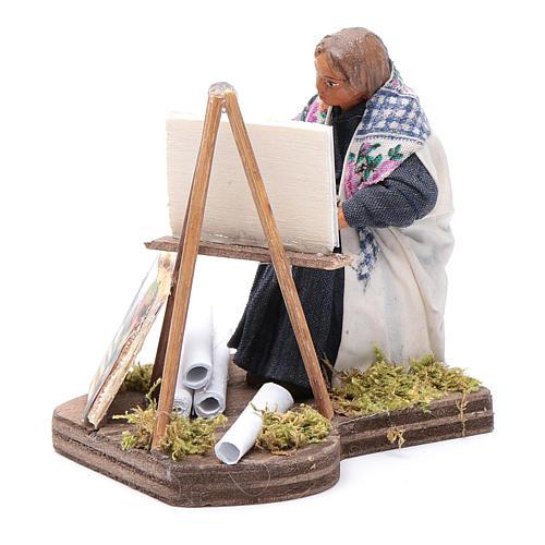 Woman painting, Neapolitan nativity figurine 10cm 3