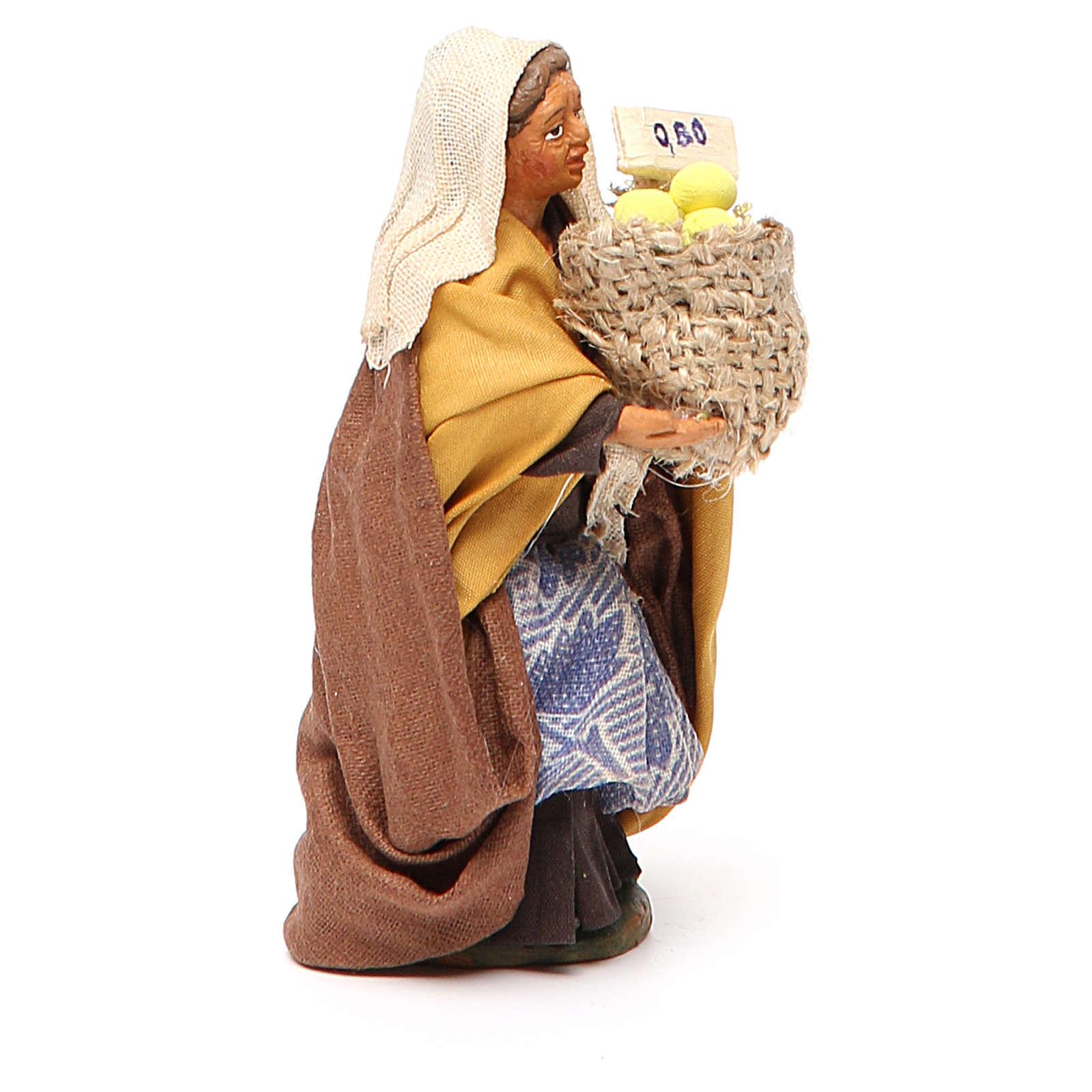 Femme panier de citrons 10 cm crèche Naples 4