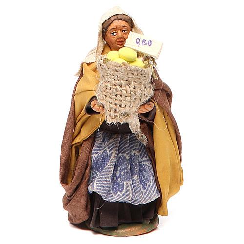 Femme panier de citrons 10 cm crèche Naples 1