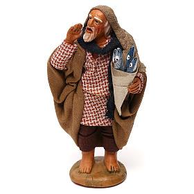 Neapolitan Nativity Scene: Fisherman with anchovy basket 10cm, Neapolitan figurine