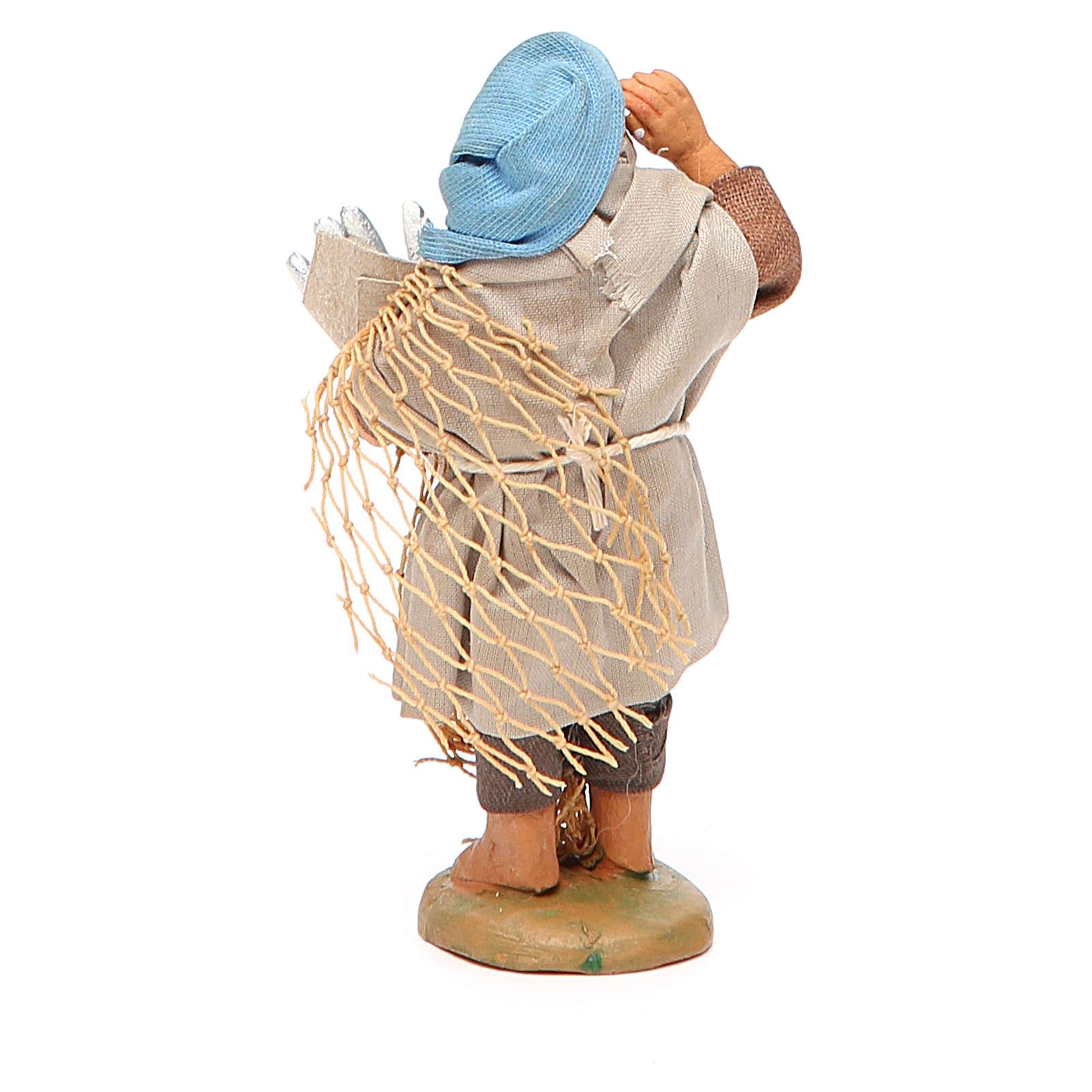 Pescatore con cuoppo di alici 10 cm presepe napoletano 4