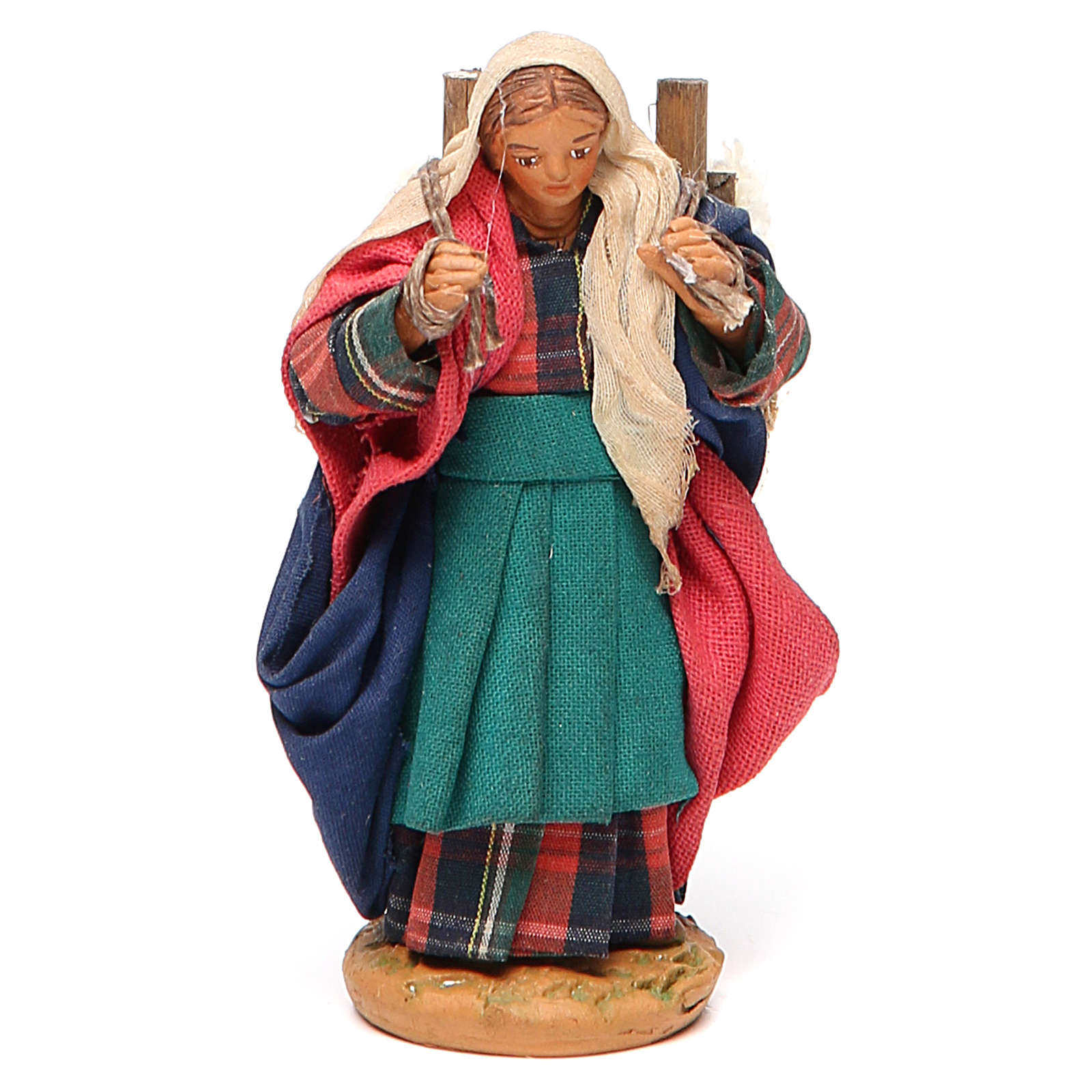 Woman carrying fabric, Neapolitan nativity figurine 10cm 4