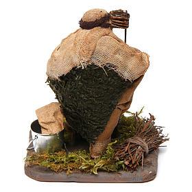 Arrotino con banco di legno 10 cm presepe Napoli s4