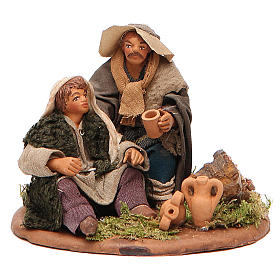 Scene of mercy, Neapolitan nativity figurine 10cm s1
