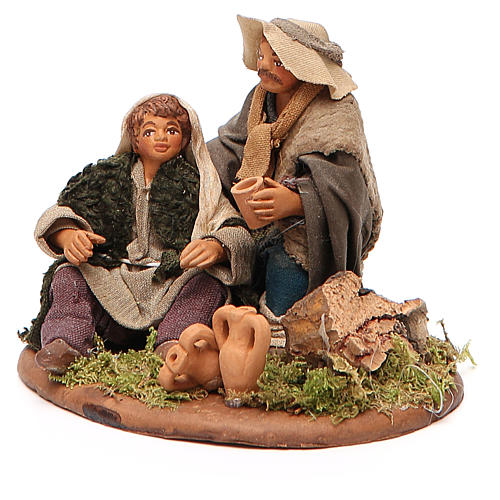 Scene of mercy, Neapolitan nativity figurine 10cm 2