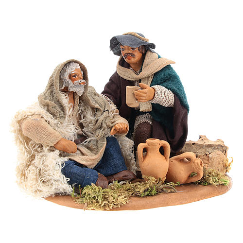 Scene of mercy, Neapolitan nativity figurine 10cm 7