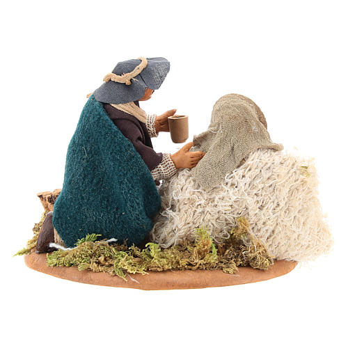 Scene of mercy, Neapolitan nativity figurine 10cm 8