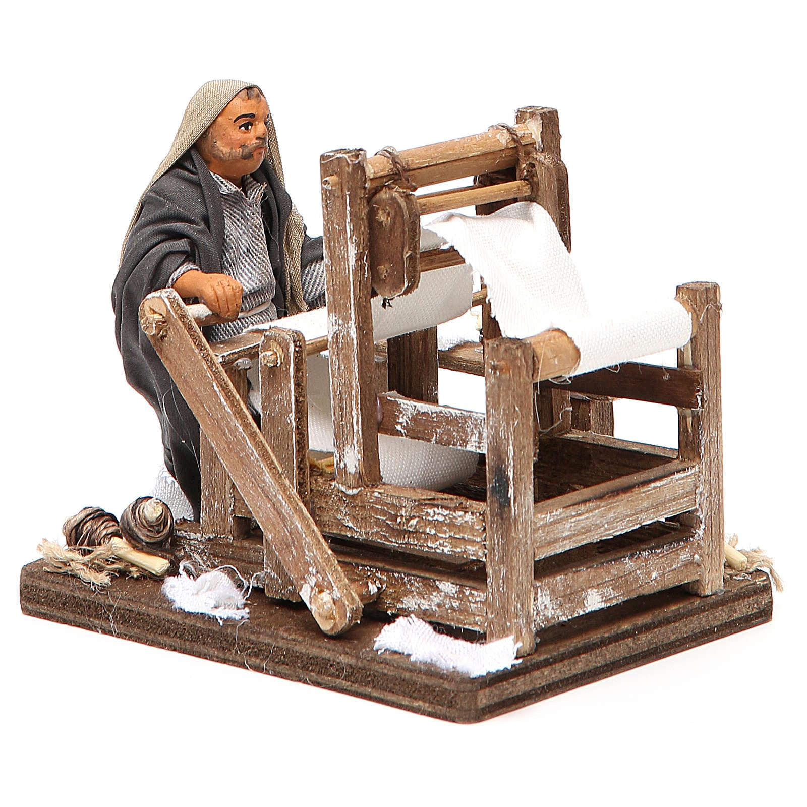 Man with loom, Neapolitan nativity figurine 10cm 4