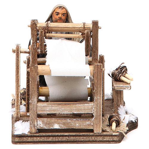 Man with loom, Neapolitan nativity figurine 10cm 1