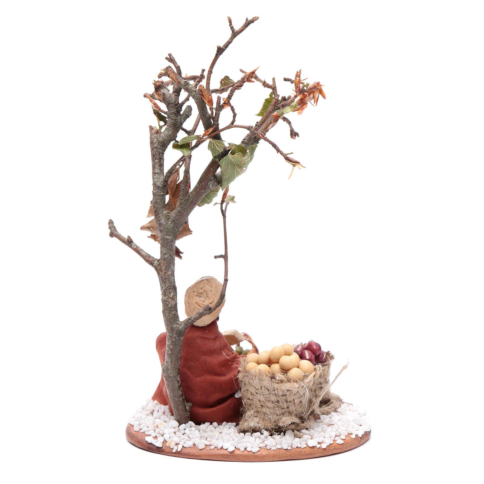 Mercante con sacco di semi con albero 10 cm presepe Napoli 4