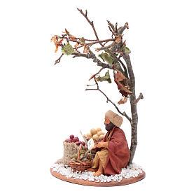 Mercante con sacco di semi con albero 10 cm presepe Napoli s2