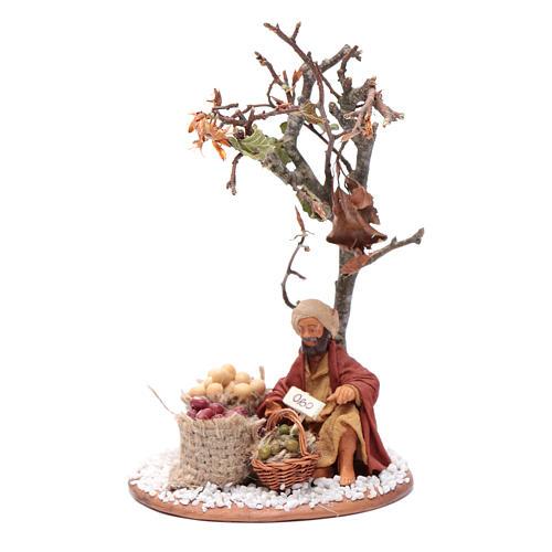 Mercante con sacco di semi con albero 10 cm presepe Napoli 1