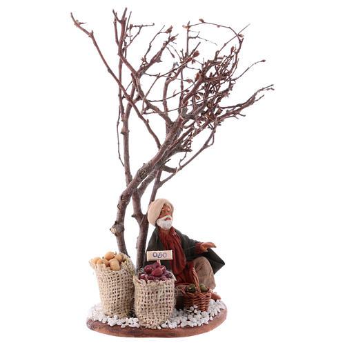 Mercante con sacco di semi con albero 10 cm presepe Napoli 3