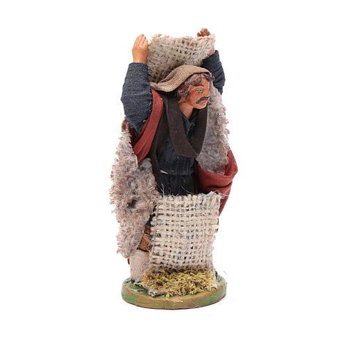 Uomo con sacco di juta 10 cm presepe napoletano 3