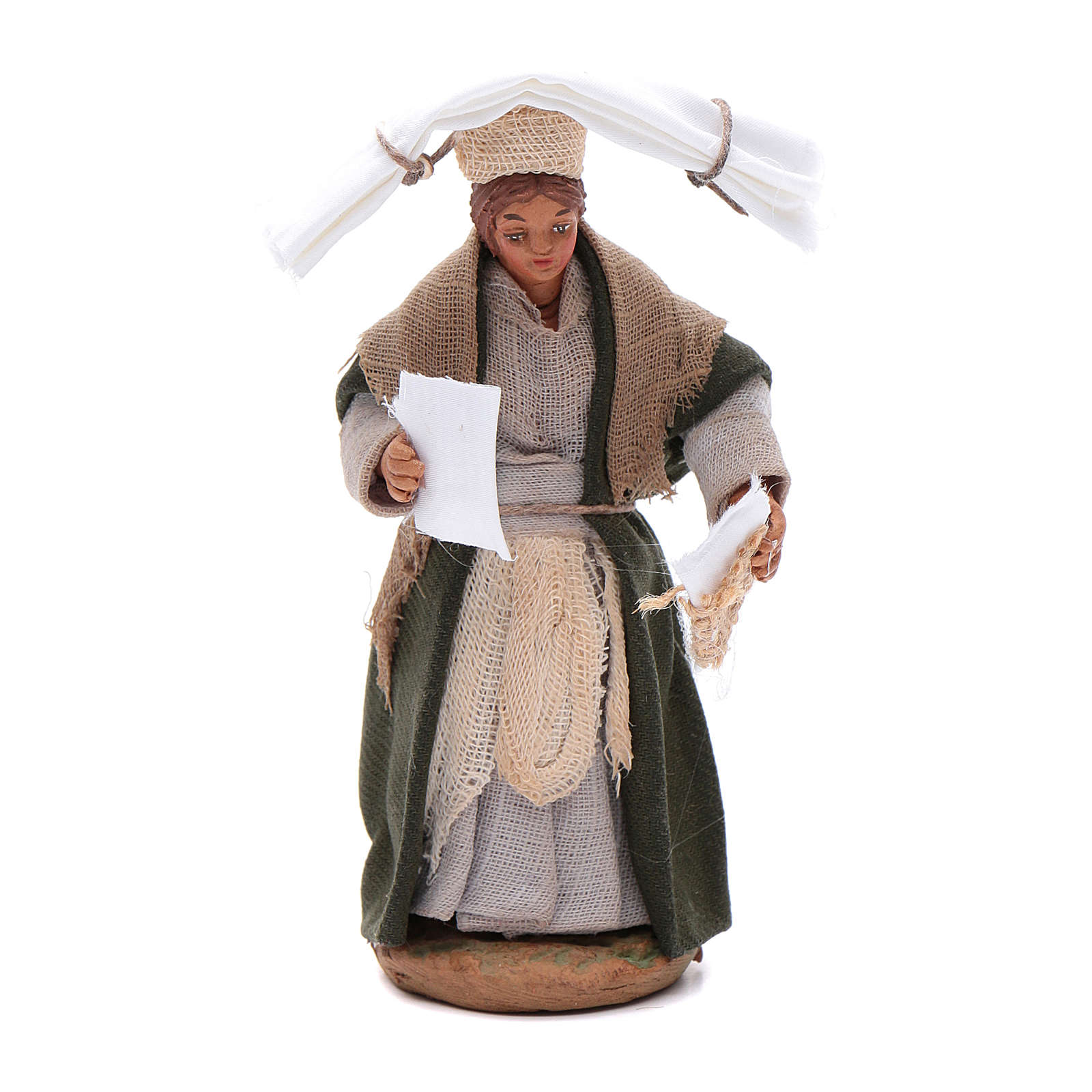 Woman with handkerchiefs, Neapolitan nativity figurine 10cm 4