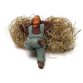 Neapolitan Nativity Scene: Sleeping man on straw 10cm, Neapolitan figurine