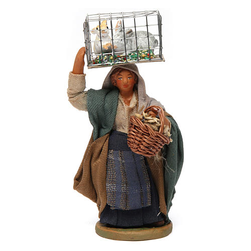 Woman with cage and basket, Neapolitan nativity figurine 10cm 1