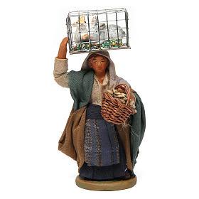 Mujer con jaula y cesta 10 cm belén napolitano s1