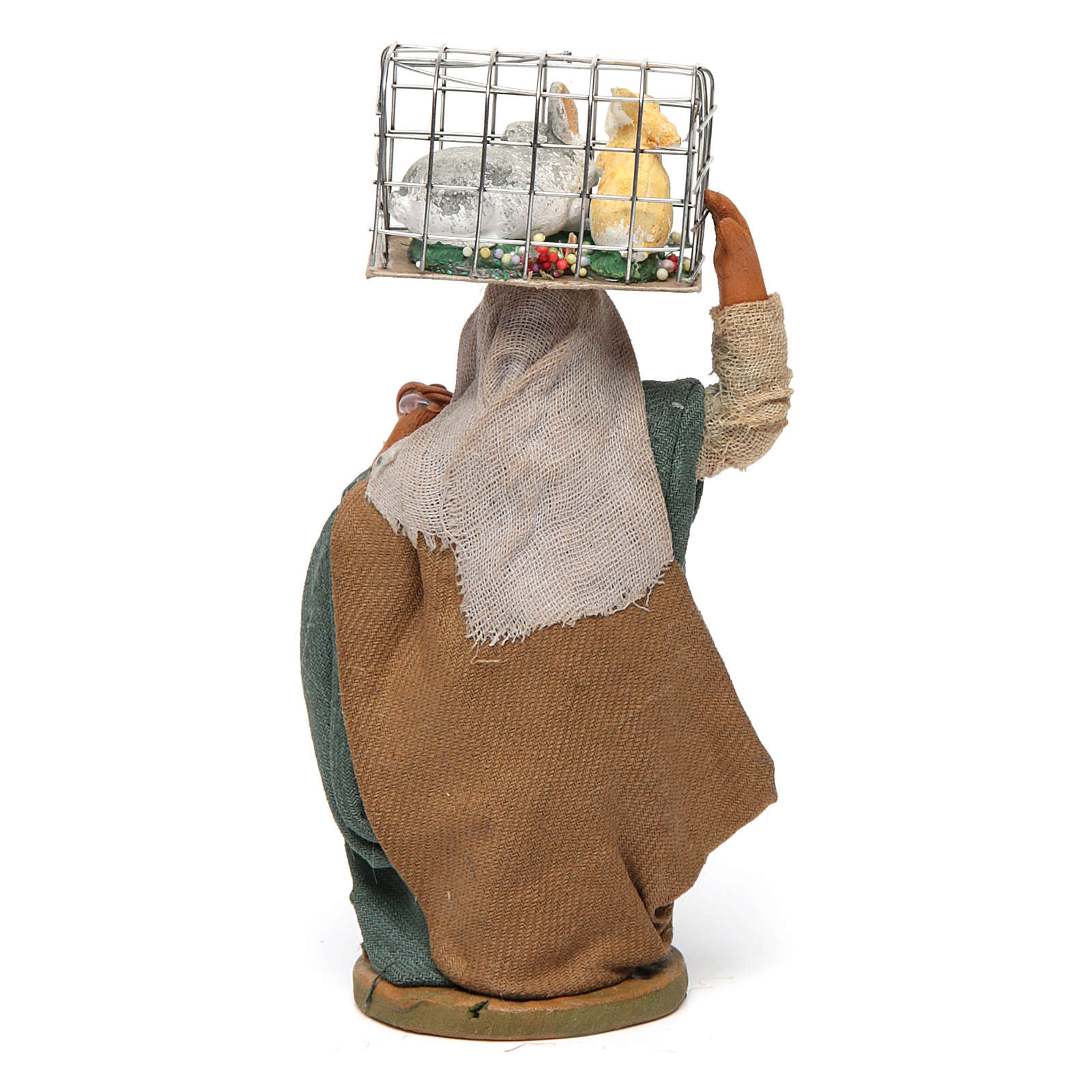 Woman with cage and basket, Neapolitan nativity figurine 10cm 4