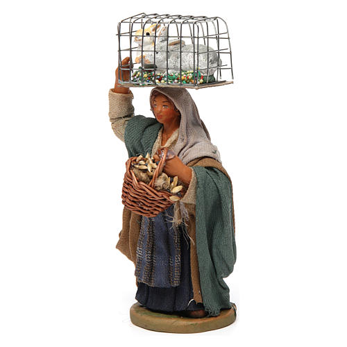 Woman with cage and basket, Neapolitan nativity figurine 10cm 2