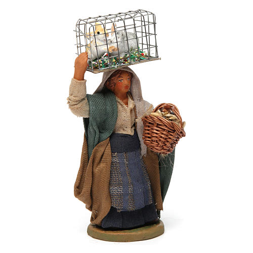 Woman with cage and basket, Neapolitan nativity figurine 10cm 3