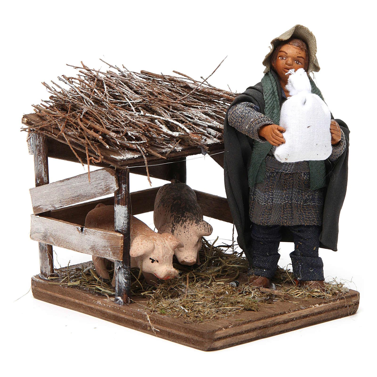 Uomo e recinto di maiali 10 cm presepe napoletano 4