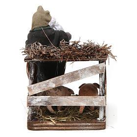 Uomo e recinto di maiali 10 cm presepe napoletano s4