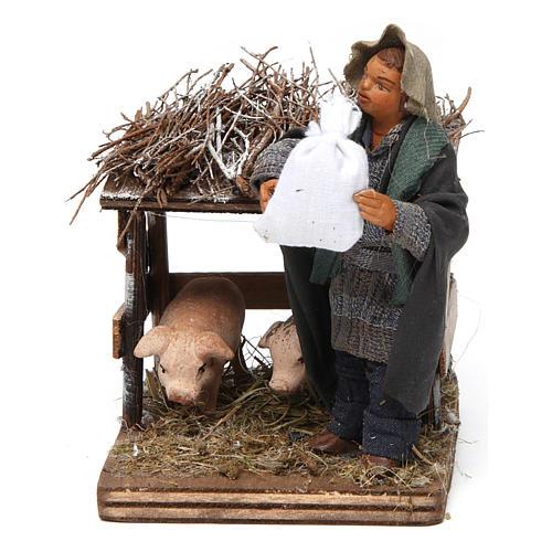 Uomo e recinto di maiali 10 cm presepe napoletano 1