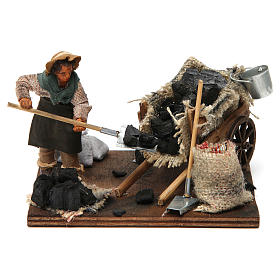 Neapolitan Nativity Scene: Coal merchant with cart, Neapolitan nativity figurine 10cm