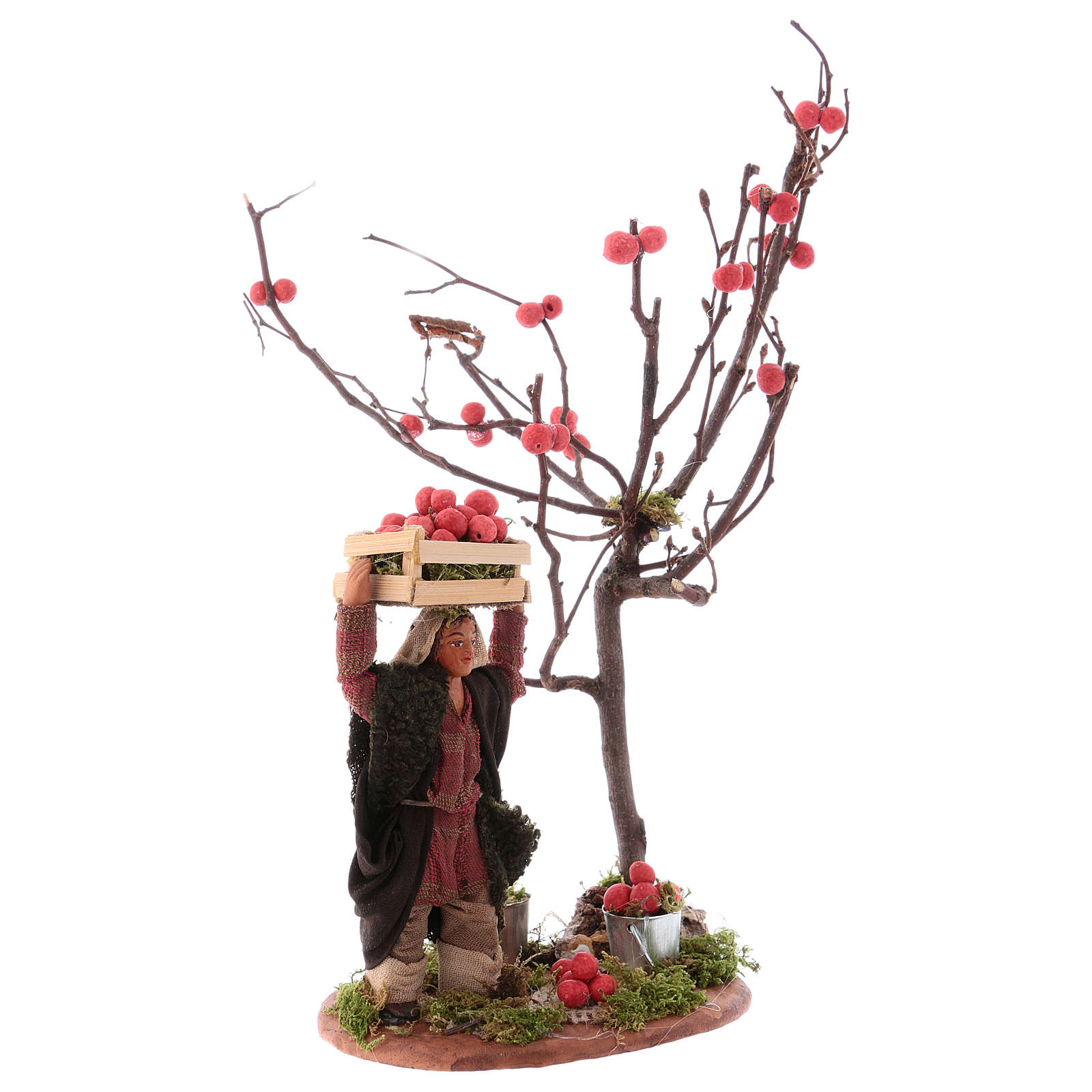 Man with apple box and tree for 10 cm Nativity scene, Neapolitan style 4