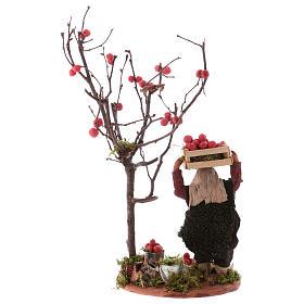 Hombre cesta de manzanas y árbol 10 cm de altura media Nápoles s4