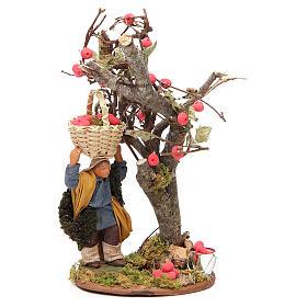 Homme panier de pommes et arbre 10 cm crèche Naples s1